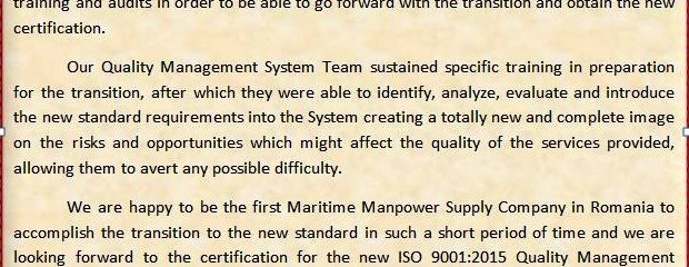 Gap Analysis and Transition to meet ISO 9001:2015